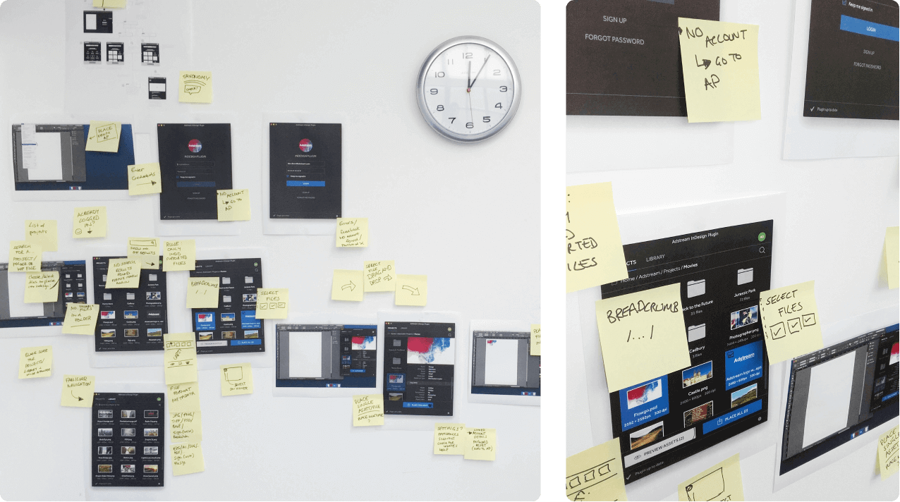 Image of our post it notes on the wall during our session