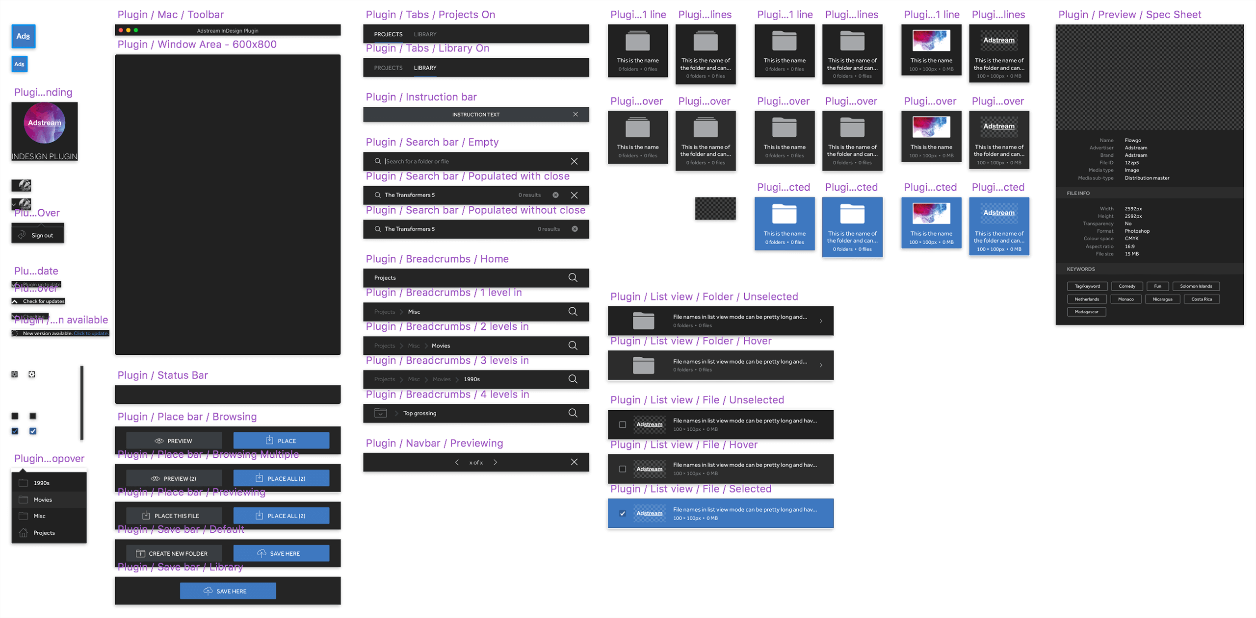 Image of my components in Sketch