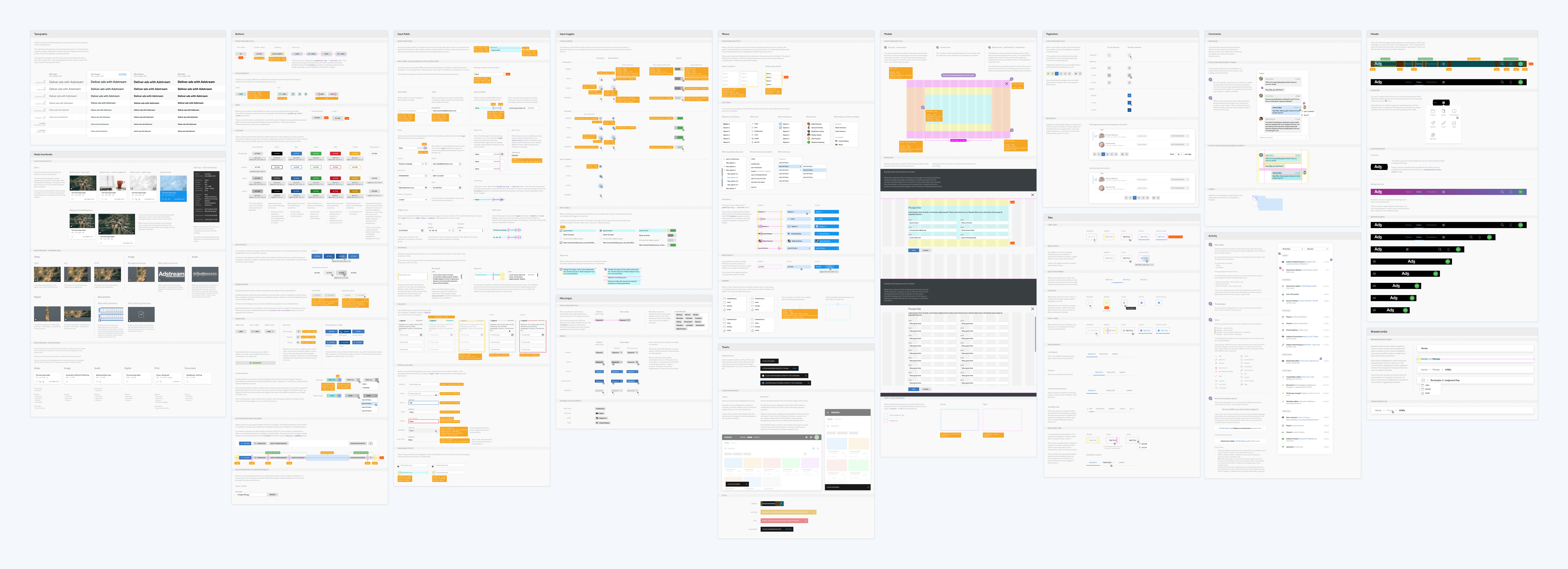 Various documentation pages in Zeplin